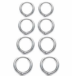 4 Pair Men Women Smal Hoop Earrings Stainless Steel Cartilag