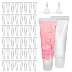 50Lot Lip Gloss Tubes Empty Squeeze for DIY Lip Base Glitter
