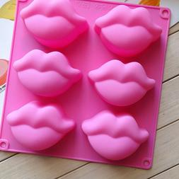 6 Silicone Lip Shape Mold Ice Cube Chocolate Cookie Jelly Ca