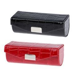 Black/Red PU Leather Lipstick Case Lip Gloss Holder Bag w/ F