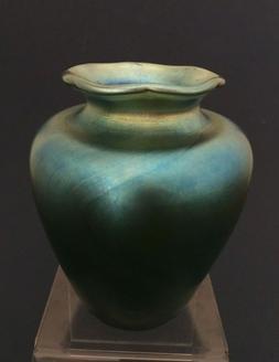 Grant Randolph Studios Blue Aurene Vase w/ Ruffled Lip