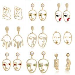 Fashion Retro Art Abstract Cutout Face Hand Dangle Drop Earr