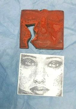 Glamorous rubber stamp face faces features lips eyes lips un