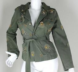 *Sugar Lips* Green Military Jacket Rose Crystals Womens Clot