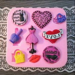 Ladies Night Out Silicone Mold, Heart Silicone Mold, Lips Si