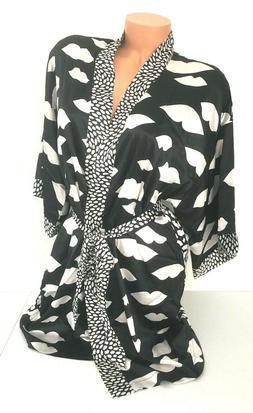 NEW! Victoria's Secret Short Satin Kimono Robe Black White L