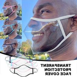 Reusable Clear Transparent Unisex Adult Face Mask w/ Mouth L