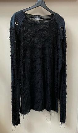 LIP SERVICE Shirt Black XXL Long Sleeve Distressed GOTH Vint