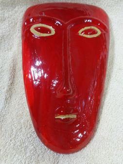 "Studio Handcrafted Art Glass Red Alien Face 9.75"" Yellow Lip"