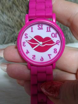 ACCUTIME WOMENS PINK LIPS WATCH-EASY READER-PINK SILICONE BA